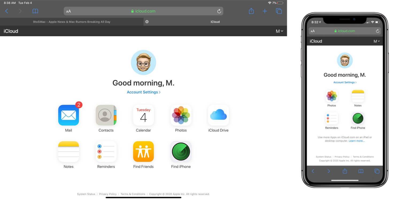 Apple представила специальную версию сайта iCloud.com для iPhone и Android