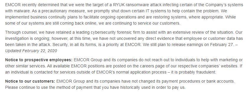 Вымогатель Ryuk атаковал EMCOR Group, входящую в рейтинг Fortune 500