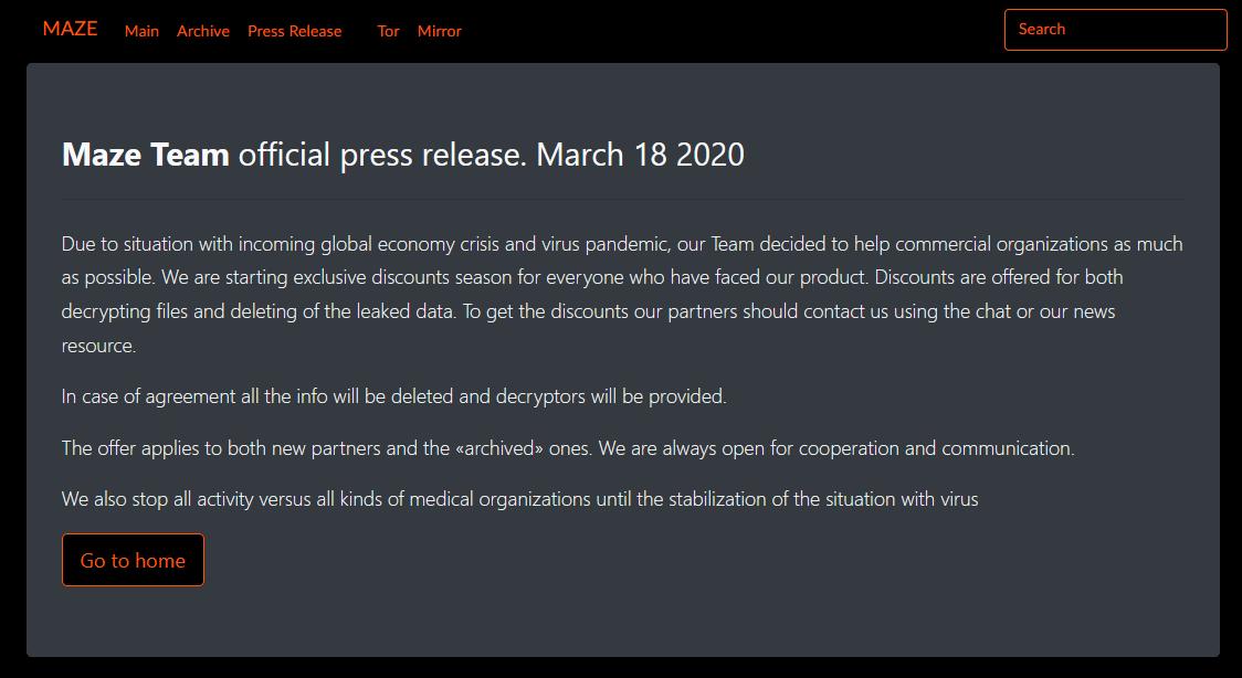 Вымогатели обещают не атаковать медицинские учреждения во время пандемии COVID-19