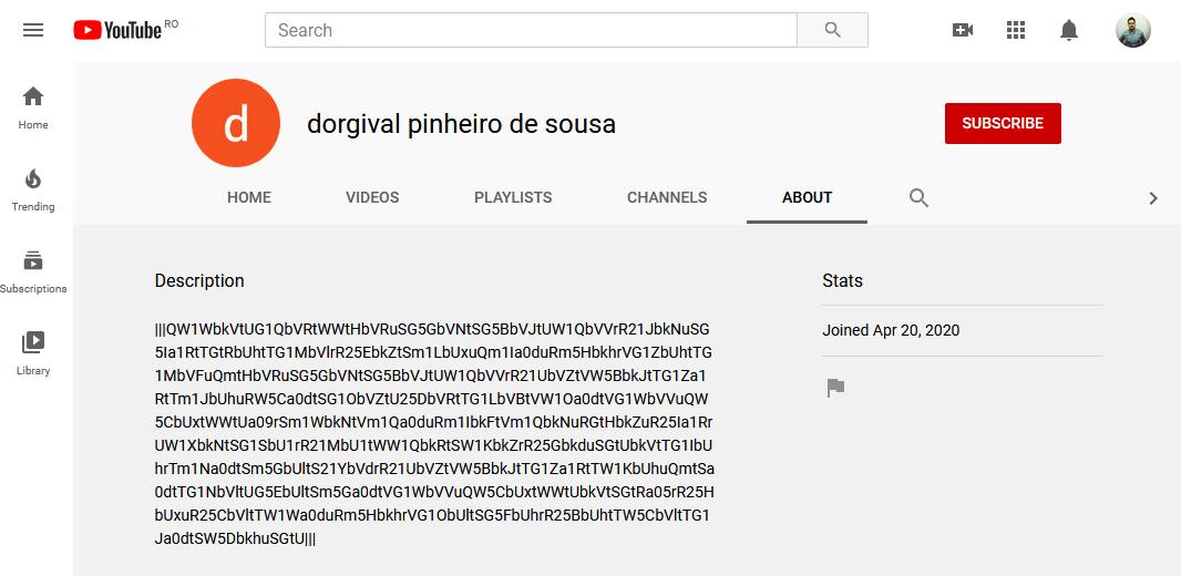 Astaroth прячет управляющие серверы в описаниях YouTube-каналов