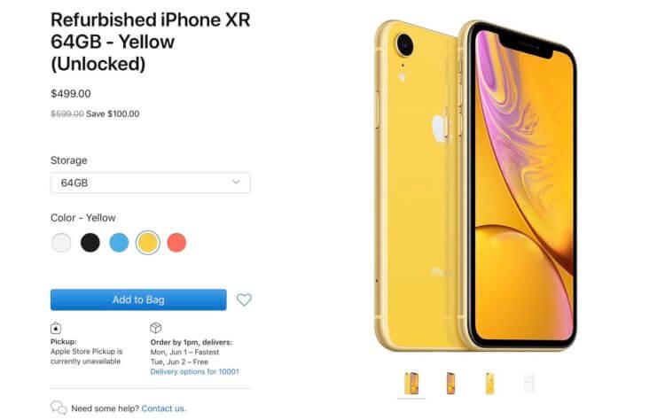 Apple начала продавать восстановленный iPhone XR и вернула 256 ГБ памяти