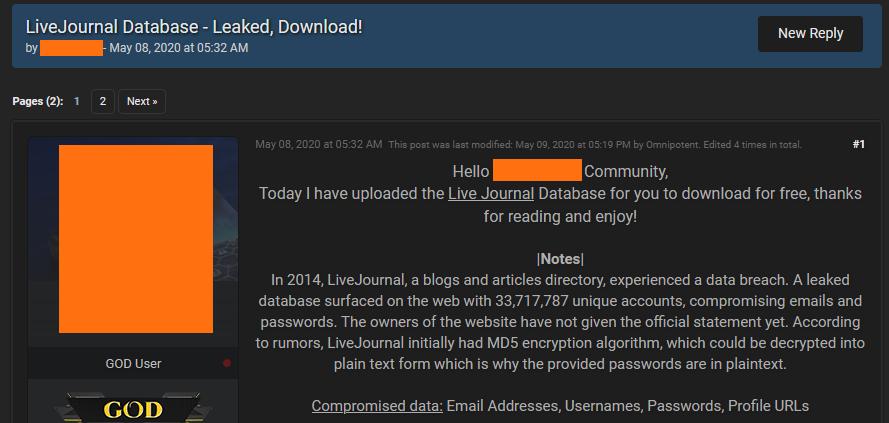 Эксперты подтвердили утечку данных 26 млн пользователей LiveJournal