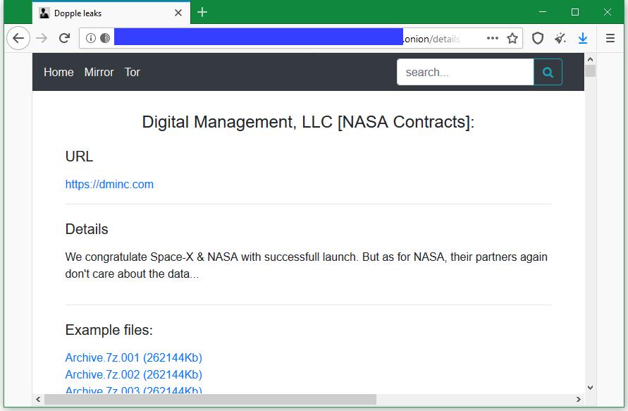 Операторы DopplePaymer заявили о взломе подрядчика НАСА
