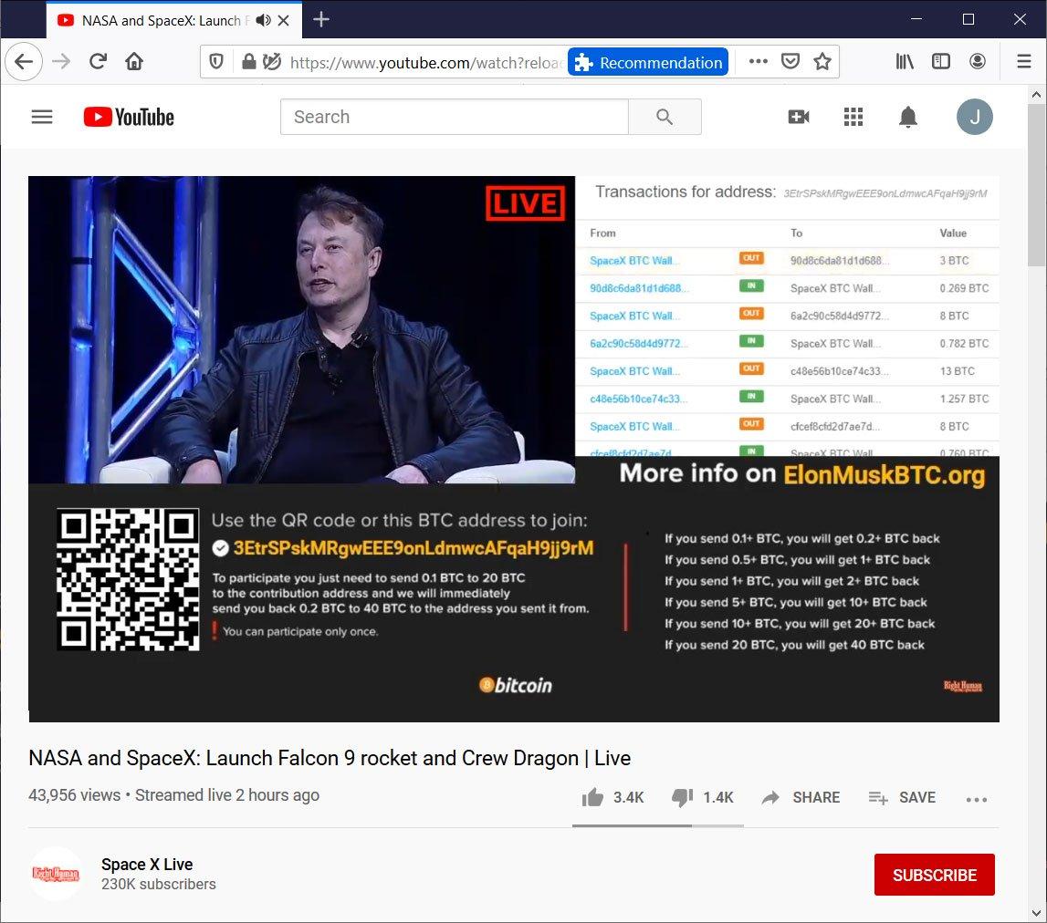 Фальшивые каналы SpaceX на YouTube выманили у пользователей более 150 000 долларов