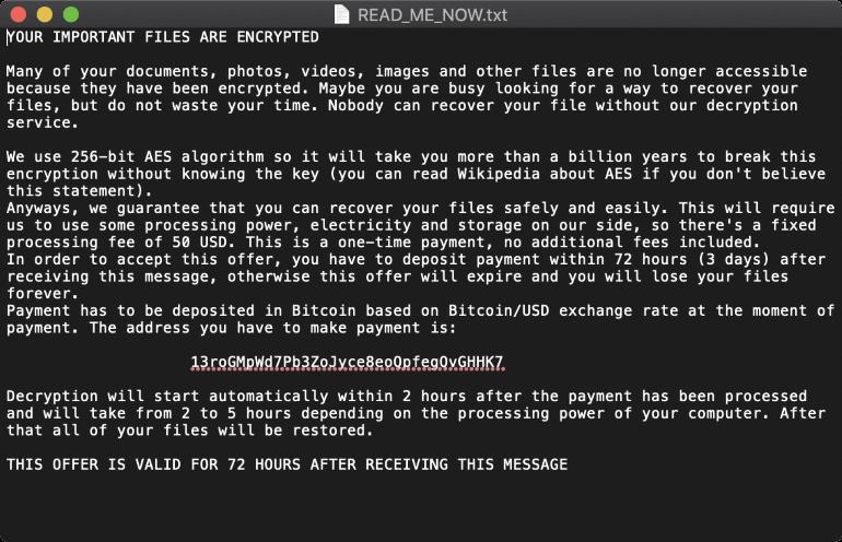 Обнаружен вымогатель EvilQuest, нацеленный на macOS