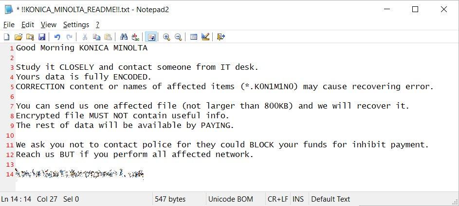 Компания Konica Minolta пострадала от атаки шифровальщика