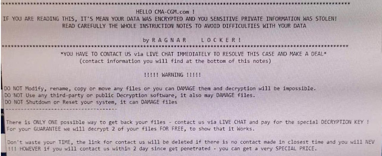 Транспортная компания CMA CGM подверглась атаке Ragnar Locker