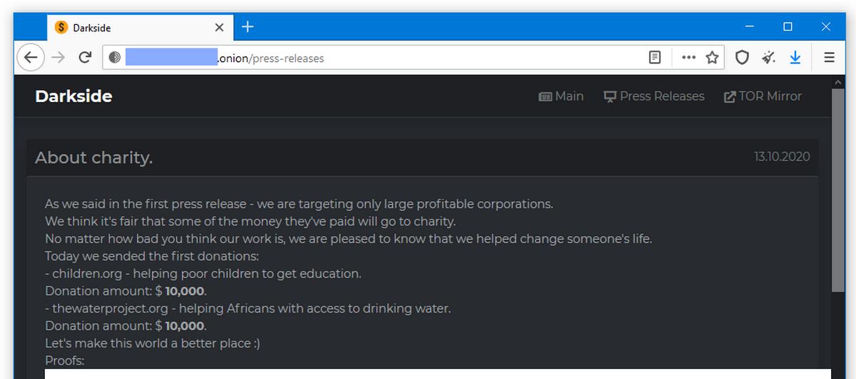 Операторы шифровальщика Darkside жертвуют деньги на благотворительность