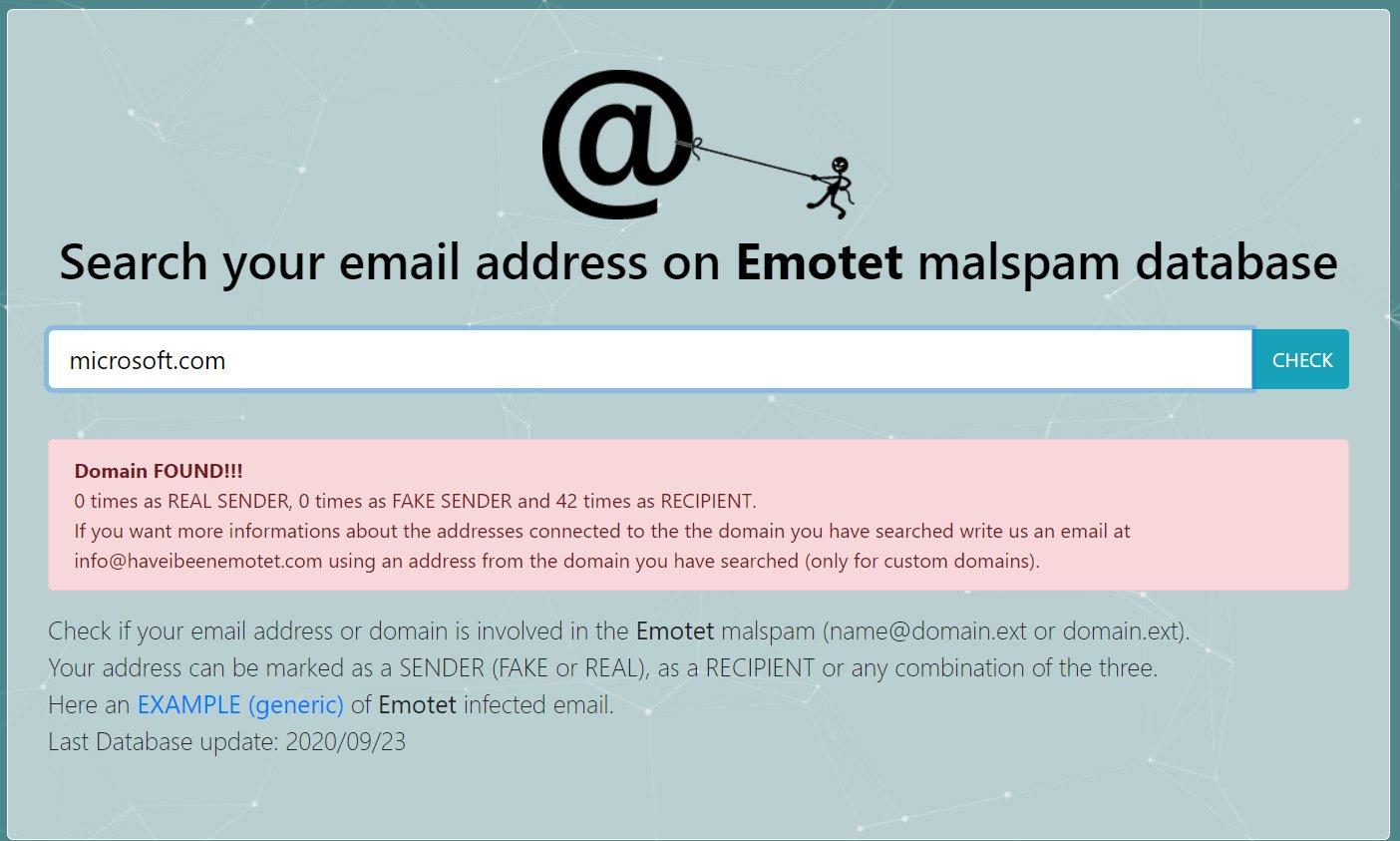 Новый сервис проверяет почтовые адреса на причастность к Emotet