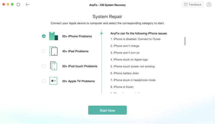 AnyFix — исправляет более 100 ошибок iOS и помогает откатиться на iOS 14