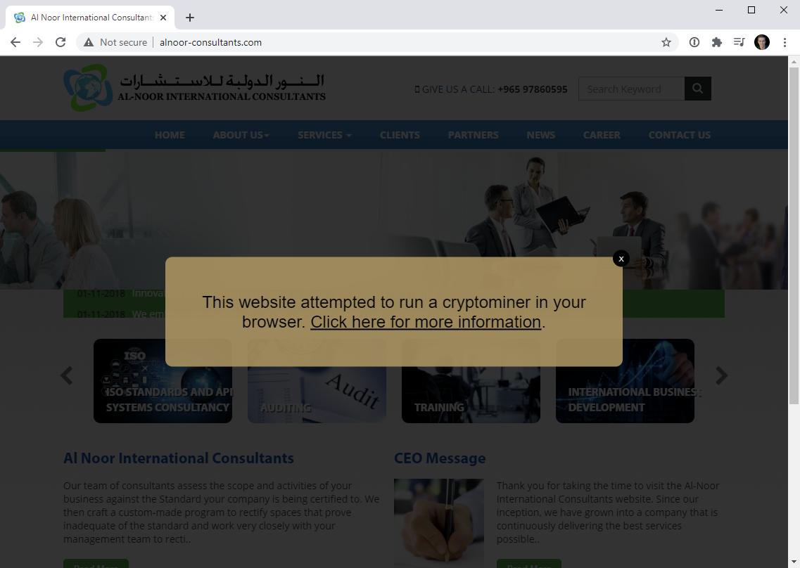 Домен Coinhive используется для предупреждения пользователей о взломанных ресурсах